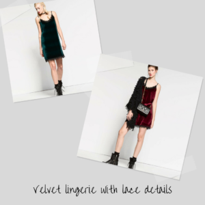 velvet lingery with lace details
