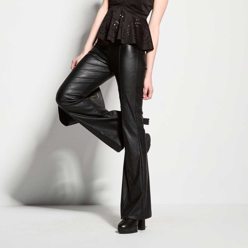 Leather look pants bell bottomed-front-close-up