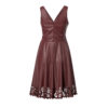 Leather dress with laser cut on the bottom-bordo-back