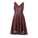 Leather dress with laser cut on the bottom-bordo
