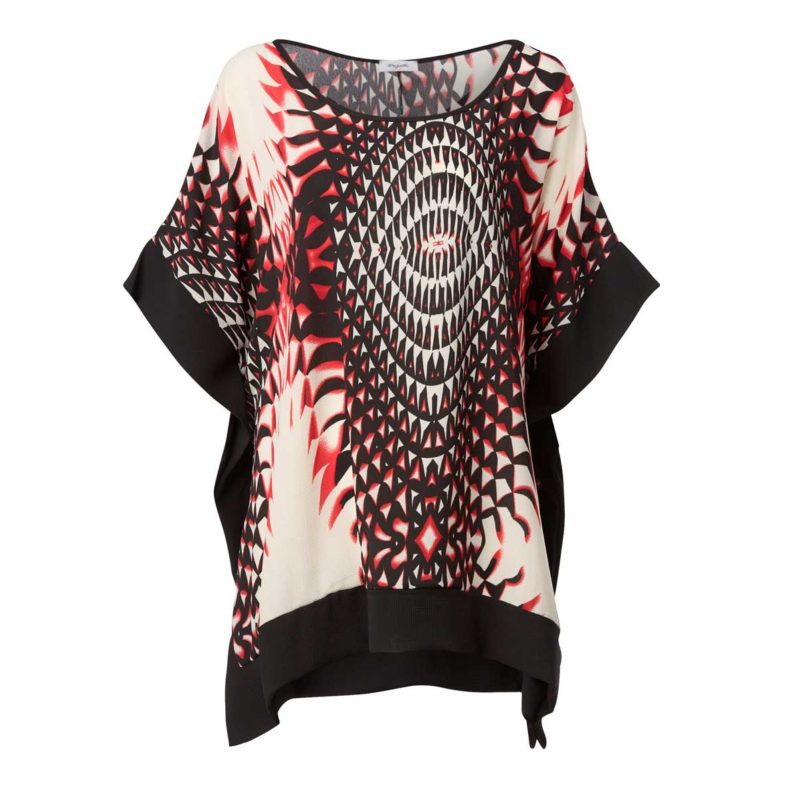 Poncho with digital printing-front