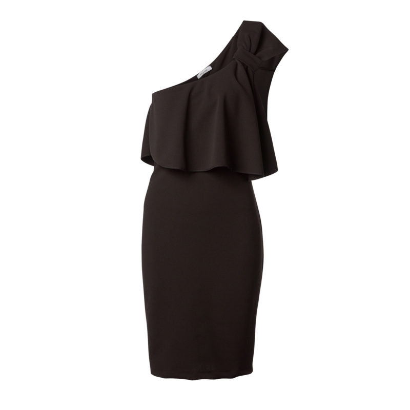 Elastic dress with one shoulder and decorative bow-black-front
