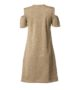 Φόρεμα χρυσό λούρεξ με έξω ώμους και φερμουάρ μπροστά-χρυσό-πίσω