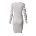 Φόρεμα ελαστικό με λούρεξ και μακρύ μανίκι-λευκό-πίσω