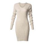 Φόρεμα ελαστικό με λούρεξ και μακρύ μανίκι-χρυσό-μπροστά