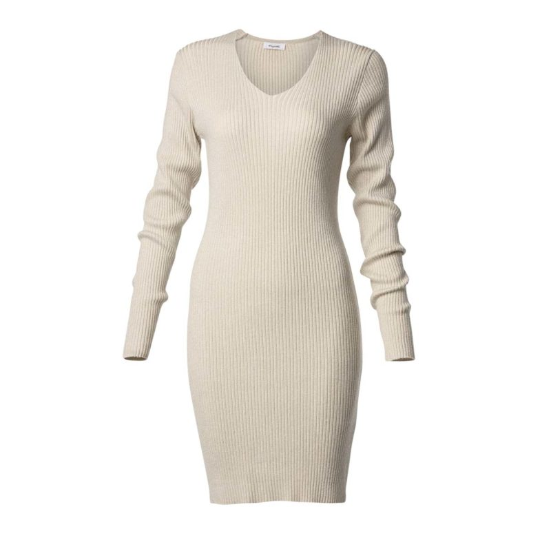 Elastic dress with lurex and long sleeves-gold-front