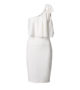 Elastic dress with one shoulder and decorative bow-white-front