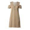 Φόρεμα χρυσό λούρεξ με έξω ώμους και φερμουάρ μπροστά-χρυσό-μπροστά