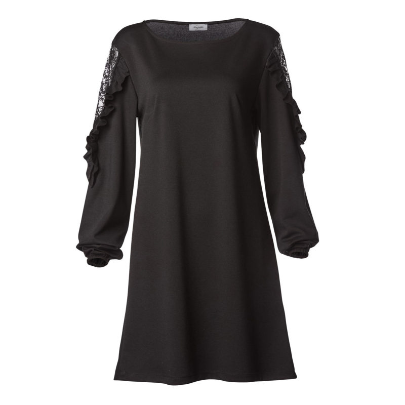 Dress with ace on sleeve and volan-black-front