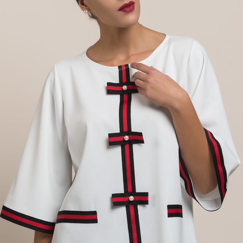 Μπλούζα με ρίγες και πέρλες