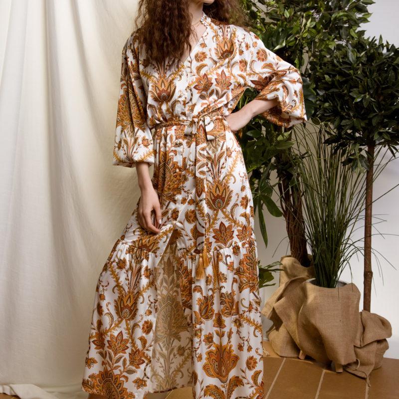 DejaVu φλοράλ φόρεμα με κουμπιά και δέσιμο στη μέση