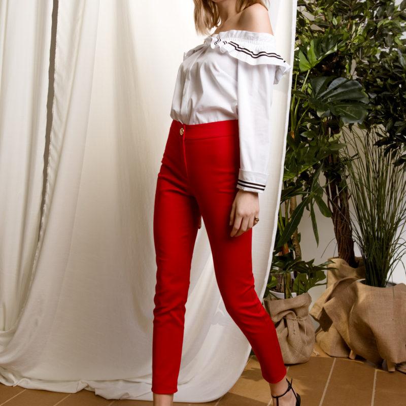 DejaVu υφασμάτινο ψηλοκάβαλο παντελόνι