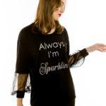 Cinderella t-shirt με διαφάνειες στα μανίκια και τύπωμα «Always I'm Sparkling»