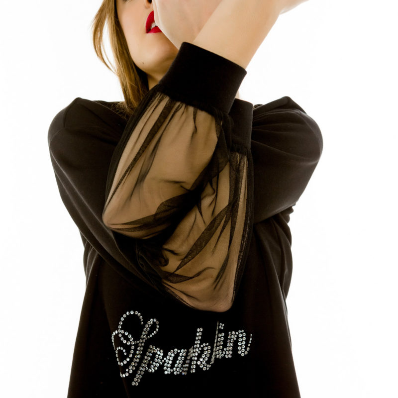 "Cinderella t-shirt με διαφάνειες στα μανίκια και τύπωμα ""Always I'm Sparkling"""