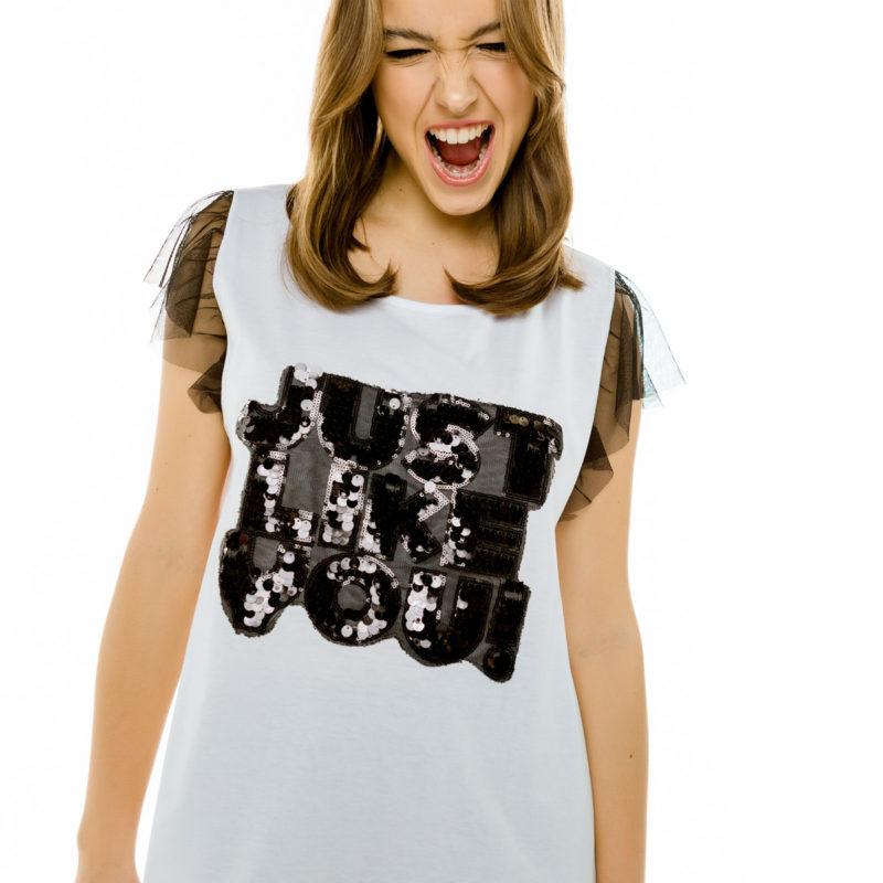 "Cinderella t-shirt με διαφάνειες στα μανίκια και τύπωμα ""Just Like You"""