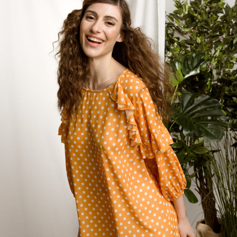 DejaVu πουά μπλούζα με λεπτομέρειες βολάν