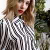 DejaVu γυναικείο ριγέ πουκάμισο με φουσκωτά μανίκια