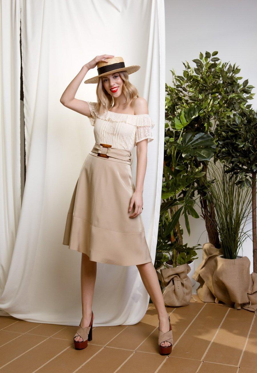 DejaVu μίντι φούστα με ζώνη στην μέση