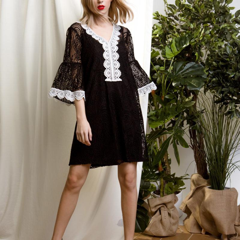 DejaVu φόρεμα με διπλό ύφασμα και δαντέλα