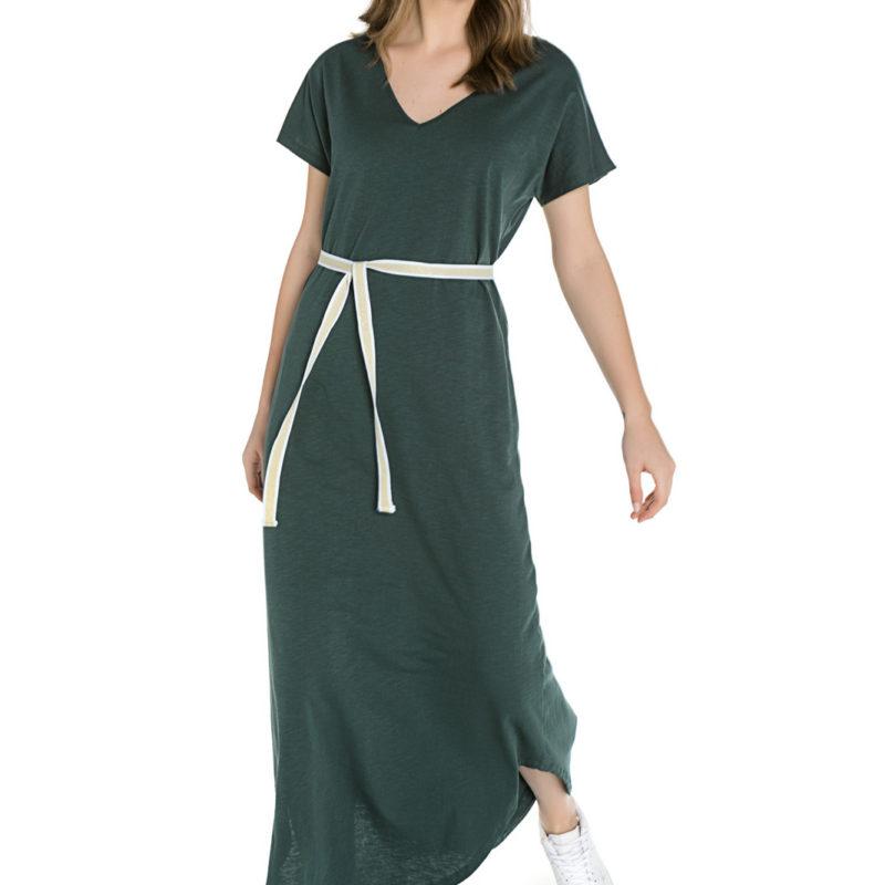 Cinderella λαδί maxi φόρεμα με υφασμάτινη ζώνη