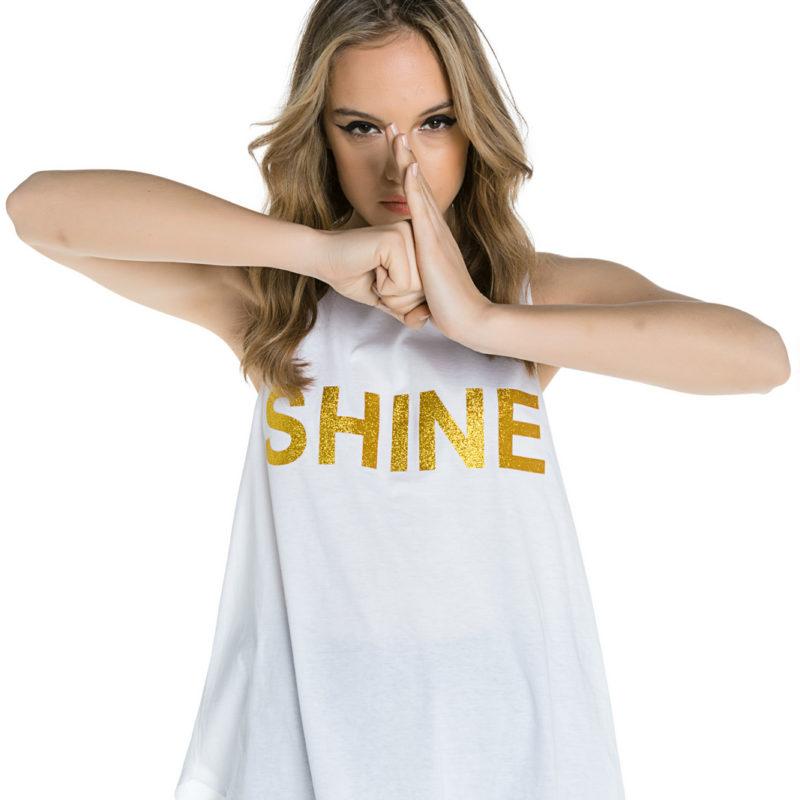 "Cinderella αμάνικη μπλούζα με χρυσό τύπωμα ""Shine"""
