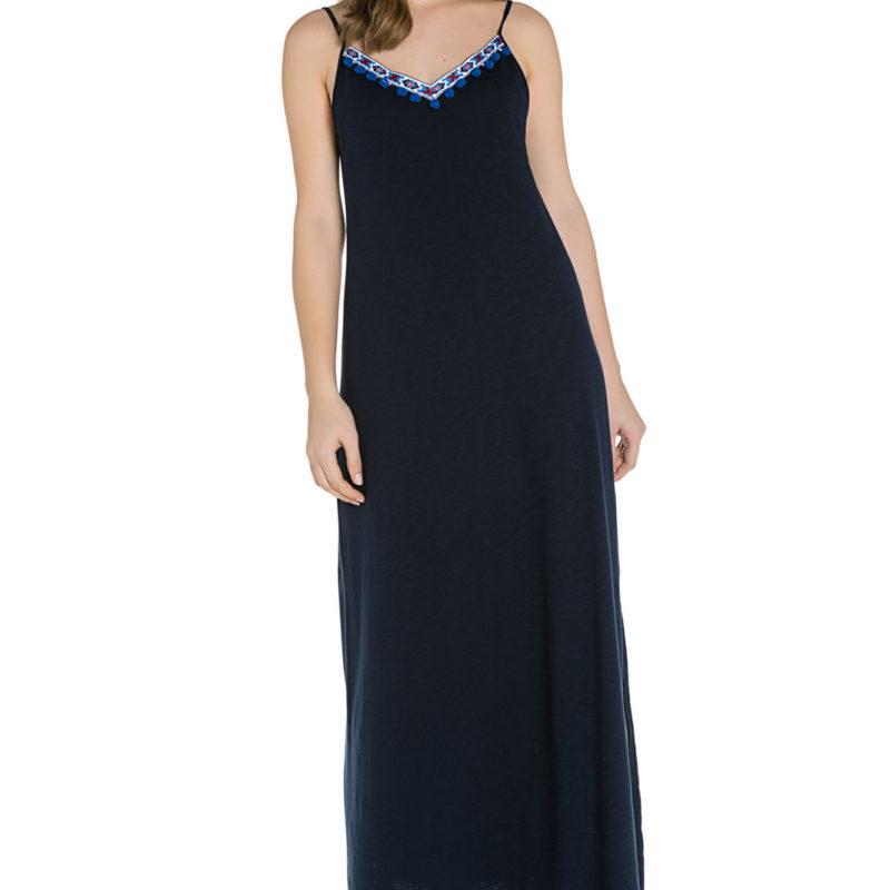 Cinderella maxi φόρεμα με λεπτές τιράντες και σκίσιμο στο πλάι