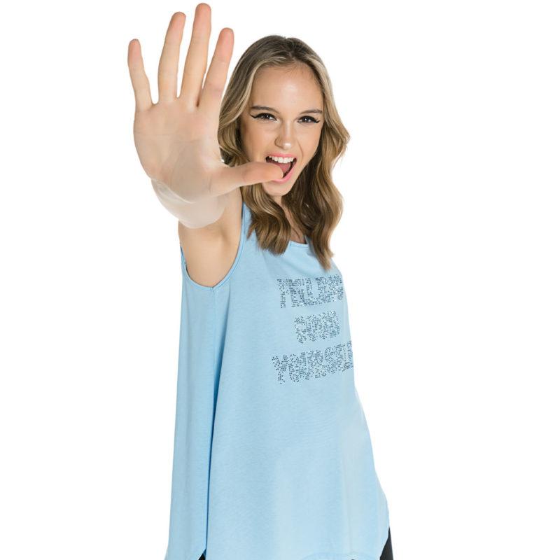 Cinderella γαλάζιο αμάνικη μπλούζα με τυπωμένα στρας