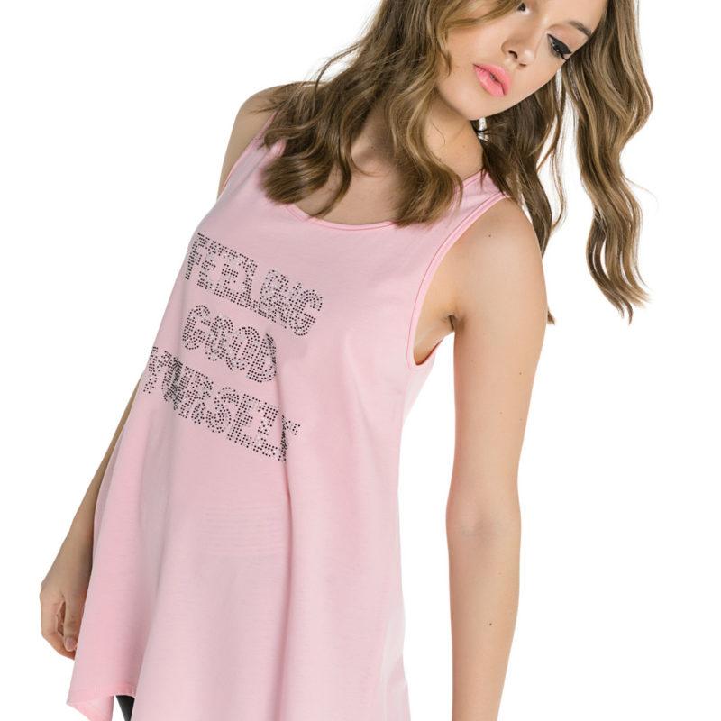 Cinderella ροζ αμάνικη μπλούζα με τυπωμένα στρας
