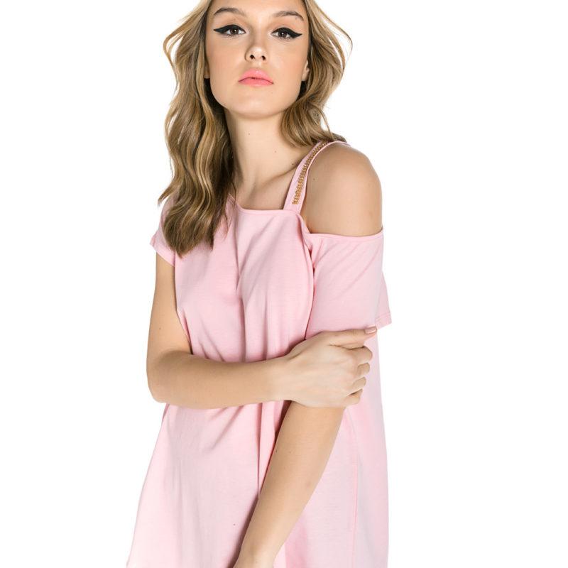 Cinderella ροζ tee με τιράντα στον έναν ώμο και στρας