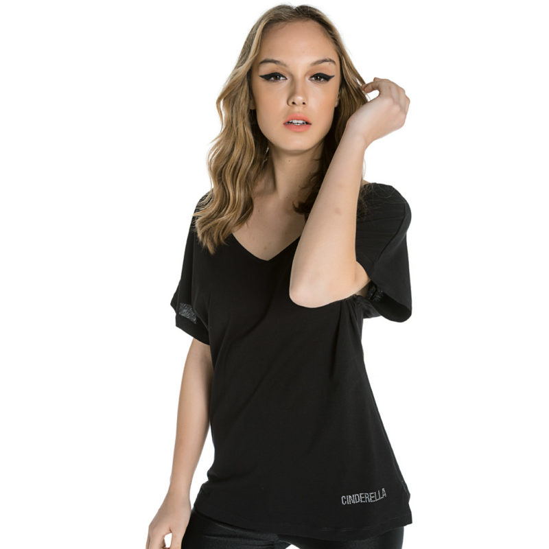 Cinderella μαύρη μπλούζα με άνοιγμα στην πλάτη