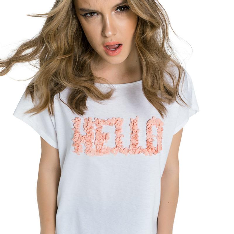 """Cinderella λευκή μπλούζα με τύπωμα """"Hello"""""""