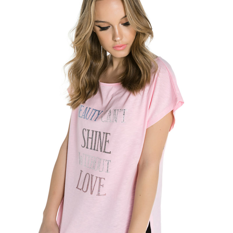 "Cinderella tee με τύπωμα ""Beauty Can't Shine Without Love"""